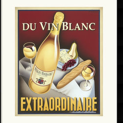 Amanti Art - Du Vin Blanc Extraordinaire Framed Print by Steve Forney - Using digital and airbrush techniques, Steve's work is a tribute to the vintage posters of half a century ago. His love of travel and early ad placards has led him to create an ingenious retro look.