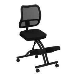 Flash Furniture - Ergonomically Contoured Kneeling Chair - Lumbar Support. Thickly padded fabric upholstered seat and knee rest. Adjustable height. Scissor frame design. Dual wheel casters. Warranty: 2 year limited. Assembly required. Back: 17.25 in. W x 18.5 in. H. Seat: 17.25 in. W x 12.5 in. D. Seat Height: 22 in.. Overall: 27.75 in. W x 20 in. D x 41.25 in. H (29 lbs.)