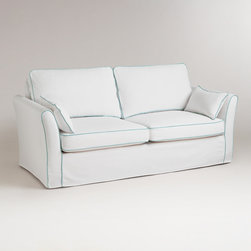 World Market - White and Blue Luxe Sofa Slipcover - Slip your Luxe Sofa into something a little more chic with our classic White and Blue Luxe Sofa Slipcover, designed for a casual, loose fit. Easy to clean and beautiful to look at, this stylish slipcover is a brilliant way to change the look of your living room affordably. Keep one slipcover on the sofa and one stored in your linen closet for a handy way to manage life's little spills.