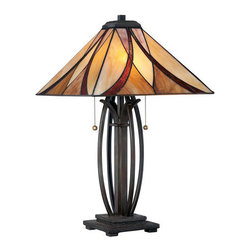 Quoizel - Quoizel TF1180T Tiffany 2 Light Table Lamp with Tiffany Glass - Quoizel TF1180T Tiffany 2 Light Down Lighting Asheville Table LampThis down lighting table lamp from the Tiffany collection features a beautiful amber glass shade providing soft, diffused light. This craftsman styled fixture is perfect for your bedroom, den, dining room, foyer, or living room.Features: