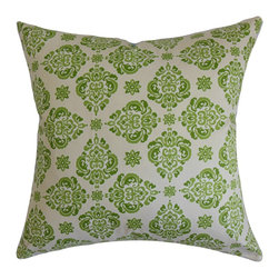 "The Pillow Collection - Gershom Floral Pillow Green 18"" x 18"" - Brighten up your space with refreshing colors like this green-hued floral throw pillow. This accent pillow comes with a traditional floral pattern in shades of green and set against a white background. This plush decor pillow complements various settings and decor styles. You can easily place this 18"" pillow on top of your furniture pieces like sofa, couch or bed. Crafted from 100% high-quality cotton fabric. Hidden zipper closure for easy cover removal.  Knife edge finish on all four sides.  Reversible pillow with the same fabric on the back side.  Spot cleaning suggested."