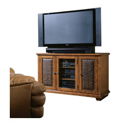Hooker Furniture - Plasma Console - Wood w/Leather - Two outside doors with carved leather panels; each opens to reveal two adjustable shelves and one stationary shelf; one wood-framed glass center door opens to reveal two adjustable and one stationary shelf; levelers. Finished top.