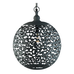 """Artemano - Zig Zag Hanging Lamp Made of Iron , 11"""" X 11"""" X 16"""" - Available in two sizes, this edgy pendant lamp is the epitome of cool.  Carefully handcrafted with a matte grey finish, the sphere-shaped Zig Zag Hanging Lamp is designed for any contemporary space stylish enough to accommodate it. Striking in any room - your bedroom, above your kitchen island or even the entryway of your home.  Stunning on its own, a guaranteed showstopper when hung in small groups."""