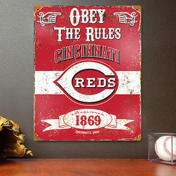 Party Animal - Cincinnati Reds Vintage-Inspired 'Obey the Rules' Wall Sign - Featuring a weathered, vintage-inspired design���complete with the year of the organization's debut���this wall sign allows a fan to decorate their space to show appreciation for the home team. �� Metal Ready to hang Imported