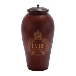 "Benzara - Brown Attractively Painted Terracotta Jar with Wooden Lid - Brown Attractively Painted Terracotta Jar with Wooden Lid. Augment your home decor with this terracotta jar with mango wood lid. It comes with the following dimensions: 10""W x 10""D x 18""H. Some assembly may be required."
