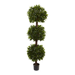 Nearly Natural - 6.5' Sweet Bay Triple Ball Topiary - Ball topiaries are always very popular, whether they have one, two, or even more balls. This particular Sweet Bay Topiary has three distinct 'balls of bloom', and looks as if a gardening expert shaped it by hand. It stands more than six feet in height, and makes a handsome addition to any home or office decor. As a bonus, it'll stay looking perfect for years, with nary a drop of water or a minute of care.