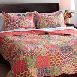 None - Slumber Shop Madeline 3-piece Reversible Quilt Set - Stay warm this winter while adding a contemporary look to your home with this gorgeous patchwork quilt that focuses on red and gold hues. Reversible for double the use,this quilt is finished with vermicelli embroidery to add both style and durability.