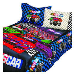 Sports Coverage - Nascar Finish Line 3 Piece Twin/Full Bedding Comforter Set - Features: