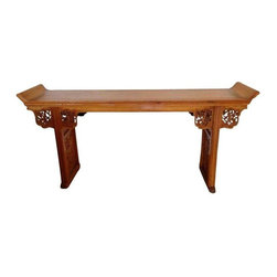 Pre-owned Antique Chinese Temple Table - This is a beautiful antique Chinese Temple table.  A classy statement to center an entryway or hallway.  In very good shape with elaborate carvings and details.    Appraised by Bonhams and Butterfields in San Francisco for $2400.00.