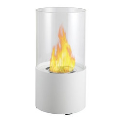 Circum Tabletop Bio Ethanol Fireplace by Ignis - The Circum, cylindrical in shape, is ideal for creating emotional decor. Providing a 360 degree view of the dancing flame, Circum provides comforting warmth in a small space or patio. This fireplace offers an eco-friendly flame that is odorless. Bio Ethanol, an alternative fuel source produced from plants, only emits water vapor and carbon dioxide into the air. Although ethanol fireplaces aren't intended for use as a primary heat source, the Circum model produces approximately 2,000 btu, which will change the noticeable temperature in an area of 65-85 square feet. For aesthetic appeal and safety, this fireplace includes a piece of tempered glass that surrounds the flame and provides the unobstructed view. Appropriate for any space indoors or out, Circum is offered in black, red, white or stainless steel.
