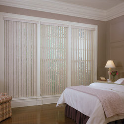 Vertical Blinds | Traditional  Bedroom| Brown & Pink | Large Window Treatments - Complete the design: vertical blinds