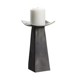 Malibu Creations - Malibu Creations Classic Candle Stand - A monument of modern form and contemporary style, this statuesque candle holder turns a simple pillar candle into a celebrated home adornment. The tapered geometric base rises up to hold a square platform that is perfectly curved up at each corner. Finished in slate gray glaze, this modern marvel has a timeless elegance that will keep it looking current for years to come.
