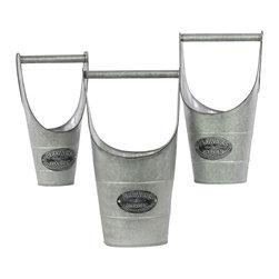 Zinc Galvanized Metal Bucket w/ Metal Handle - Set of 3 - *Metal Bucket with Metal Handle Set of Three Galvanized Zinc