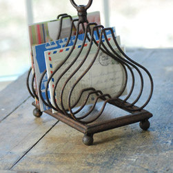 Vintage File Holder - What a sweet way to keep mail, bills and notes in order.