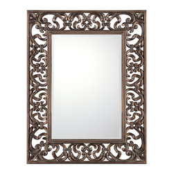 """Capital Lighting - 362 Old World Bronze Filigree Rectangle Mirror - 362 Old World Bronze Filigree Rectangle Mirror.  Wood frame with top layer of gesso.  Beveled mirror.  Mirror glass: 24"""" w x 36"""" h"""