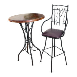 """Mathews & Company - South Fork 25"""" Swivel Counter Stool with Arms - Breakfast bars are one of America's most popular home features. However, finding attractive counter stools can be a challenging task. If you are looking to create an eating space that is both striking and functional, these South Fork stools are the ideal choice. Crafted in branched wrought iron, they carry an aura of natural beauty with all the strength that iron innately provides. And with four different color finishes and a number of upholstery options to choose from, these stools can suit both your needs and your sense of style."""