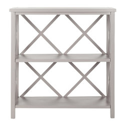 Safavieh - Safavieh Liam Open Bookcase X-B6356HMA - The Liam open book case, crafted from pine in a warm gray finish, proves a versatile, multi-functional workhorse. With a light-weight stature and X-shaped back, Liam's casual styling make it ideal for country and beach settings in rooms throughout the home, even the bath. Minor assembly required.