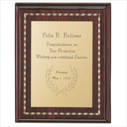 Howard Miller - Howard Miller Commemorative IV Plaque - Howard Miller - Wall Panels / Plaques - 655118 - Wooden plague with marquetry and profile edge and optional brass dowels (not shown) for tabletop display. Engraved plate shown not included.