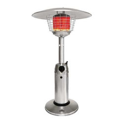 Napoleon - Napoleon Tabletop Patio Heater LP Stainless Steel - This sleek designed PTH11PSS Tabletop Gas Heater is both portable and easy to use. With it�s 10,000 BTUs you can be sure you and your guests will be able to enjoy an extended time outdoors. Uses 1 lb propane bottle. 11,000 BTUs|Sleek design is portable and easy to use|Top quality 304 stainless steel construction|Comes as a propane model only|Uses 1 lb propane bottle that is concealed in base|Equipped with electronic ignition|7 foot diameter of radiant heat|Durable high efficiency burner|Perfect for Commercial Applications   This item cannot ship to APO/FPO addresses.  Please accept our apologies.
