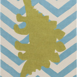 Surya - Budding BUD-2009, Aqua, 5x8 Rug - A large green dinosaur centered on the rug gives an eclectic and bold twist to the classic zigzag pattern.