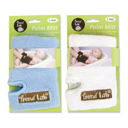 """Trend Lab - Palm Mitt - 2 Pack - Blue/White - Get a grip! Trend Lab's no slip grip Palm Mitt is the essential bath time accessory. The slip resistant terry fabric helps to securely grip your slippery baby while also doubling as a wash cloth. Two different sets of gloves make bathing your baby easier than ever! Set includes one set each of blue and white. Approximately 4"""" x 6"""". One size fits most."""
