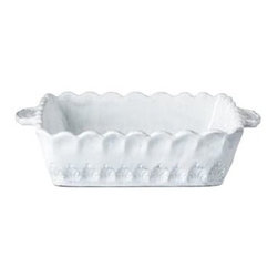 "Vietri Incanto White Stripe Medium Rectangular Baking Dish Italian - Inspired by the maestro artisans' family dinnerware heirlooms of many generations and the best art and architecture of Italy. The Incanto white stripe medium rectangular baking dish is perfect for baking and serving a casserole. Handmade in Veneto of terra marrone. Dishwasher, microwave, oven and freezer safe. This piece measures approximately 16"" L x 8"" W x 3"" H"