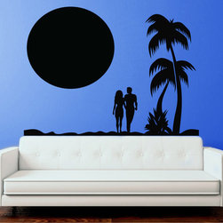 StickONmania - Couple on the Beach Sticker - A design of a couple walking down the beach. Decorate your home with original vinyl decals made to order in our shop located in the USA. We only use the best equipment and materials to guarantee the everlasting quality of each vinyl sticker. Our original wall art design stickers are easy to apply on most flat surfaces, including slightly textured walls, windows, mirrors, or any smooth surface. Some wall decals may come in multiple pieces due to the size of the design, different sizes of most of our vinyl stickers are available, please message us for a quote. Interior wall decor stickers come with a MATTE finish that is easier to remove from painted surfaces but Exterior stickers for cars,  bathrooms and refrigerators come with a stickier GLOSSY finish that can also be used for exterior purposes. We DO NOT recommend using glossy finish stickers on walls. All of our Vinyl wall decals are removable but not re-positionable, simply peel and stick, no glue or chemicals needed. Our decals always come with instructions and if you order from Houzz we will always add a small thank you gift.