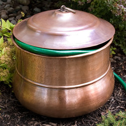 Small Textured Copper Hose Pot - With Lid - Add charm and appeal to your garden while concealing an unsightly hose with this unique Textured Copper Hose Pot. This hose pot has been handcrafted from solid copper and features lightly textured detailing.