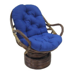 Blazing Needles - Blazing Needles 48 x 24 Swivel Rocker Cushion - 93310-SOL-BK - Shop for Cushions and Pads from Hayneedle.com! Update your swivel rocker papasan chair with a brand new cushion. The Blazing Needles Swivel Rocker Cushion is a comfortable deeply tufted cushion available in a wide variety of fabrics colors and patterns. The polyester fill is approximately 5 inches thick and the tufted surface provides soft support to help you relax. You'll have no problem finding one that suits your style and fits perfectly inside your swivel rocker papasan chair.About Blazing NeedlesBlazing Needles L.P. specializes in the manufacture of cushions pillows and futons. As a sister company of International Caravan Inc. Blazing Needles provides a wide variety of cushions to fit the frames and furniture pieces made by International Caravan. In particular Blazing Needles' production of papasan cushions occupies a unique niche within their industry and sets them apart as a prime supplier for certain retailers. Other services they provide include contract filling sewing and import sourcing. The headquarters of International Caravan and Blazing Needles is located in Fort Worth Texas.