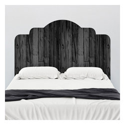 WallsNeedLove - Black Stained Wood Adhesive Headboard Wall Decal - This adhesive headboard is designed to dramatically change the look and feel of your bedroom without the permanency of paint or the bulk of traditional frames. Simply peel and stick your way to a unique new you. Enjoy this beautiful dark fauxwood stain without fear of termites, mold or even nails!