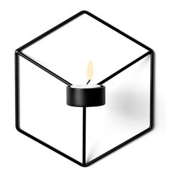 MENU - POV Wall Candleholder, Black - POV Candle Holder is a light, smart and playful product that can be used as a single piece or in a group. Beautiful on its own and stunning as graphical patterns on the wall or on the table.