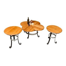 Napa East Iron Base Table Set - 3 Piece Coffee and 2 End Tables - Swirl things up with the Napa East Iron Base Table Set - 3 Piece Coffee and 2 End Tables in your living room. These fun pieces are great conversation makers, with history in their reclaimed wood from vintage wine barrels and iron bases. The tops even feature vintage wine heads that still bare the French stamps.About Napa EastNapa East creates wine-inspired furnishings that are made from actual reclaimed oak wine barrels. Their barrels began life handcrafted with pride from the finest French and American Oaks, and Napa East continues that theme when they hand-select barrels and giving them new life as beautiful one-of-a-kind works of art.