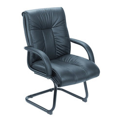 Boss Office Products - Boss Office Products Contemporary Black Italian Leather Guest Chair - Boss Office Products - Guest Chairs - B9309 - The stylish Boss Contemporary Black Italian Leather Guest Chair brings professionalism to your work space. The variety of ergonomic features on this seat ensure the best in comfort and back support. Impress your guests and clientelle with the Guest Chair.