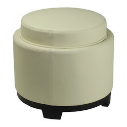 Safavieh - Round Storage Tray Ottoman - Off White - Geometry in motion. The Round Storage Tray Ottoman brings three times the charm to any room. Beneath striking off-white bicast leather upholstery, a soft foam cushion offers extra seating and performs butler duty when reversed to a handy serving tray. Perfect for any room of the house, this ottoman stands on birch wood legs in chic black finish. It��_s a classic piece for storing throws, magazines or TV paraphernalia.
