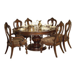 Homelegance - Homelegance Prenzo Round/Oval Pedestal Dining Table in Brown - European elegance at its best. Flowing lines, detailed carvings, beautiful veneer treatments and grand scale are some of the many design elements of our Prenzo collection.