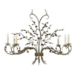 Currey and Company - Raintree Oval Chandelier - Delightful sprays of delicate leaves of metal give just the right touch of nature to this design. The rich warm finishes of Viejo Gold Leaf and Viejo Silver Leaf further enhance the six light design. The popular oval shape is perfect for so many situations, over a long dining table or counter and more.