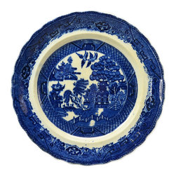 Lavish Shoestring - Consigned 2 Flow Blue Pottery Dinner Plates in Willow Pattern, English Victorian - This is a vintage one-of-a-kind item.