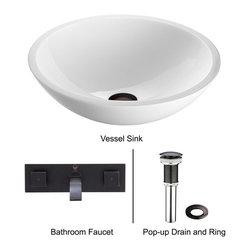 Vigo - Vigo Phoenix Stone Glass Vessel Sink w/ Flat Edged & Wall Mount Faucet (VGT229) - Vigo VGT229 Phoenix Stone Glass Vessel Sink with Flat Edged and Wall Mount Faucet, White and Antique Rubbed Bronze