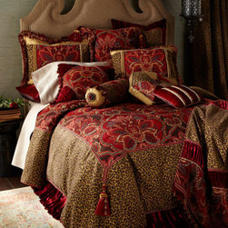 "Dian Austin Couture Home - Dian Austin Couture Home Queen Duvet Cover, 90"" x 95"" - Exclusively ours. An eclectic melange of fabrics and finishes in crimson and cognac. Collection includes medallion chenille, leopard jacquard with chenille accents, ruched panne velvet, and golden silk. By Dian Austin Couture Home®. Medallion a..."