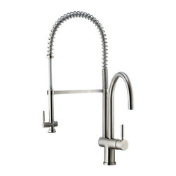 """Vigo - Vigo VG02006ST Stainless Steel Kitchen Faucets Kitchen Faucet Single - Kitchen Faucet Single Handle with Pull-Out Spray and Separate Spout 28"""" Height  Make your kitchen """"pop"""" with this functional Vigo faucet.  Vigo Vg02006 Includes:    Pullout spray kitchen faucet  All mounting hardware  Hot and cold water lines    Vigo Vg02006 Faucet Features:    Solid brass construction which ensures durability and longer life  Spiral pull-down spray head for powerful spray and separate spout for aerated flow  Easy to clean pullout spray face  Unique finishing process resists corrosion and tarnishing, exceeding industry durability standards  High-quality ceramic disc cartridge ensures maintenance-free use  360-degree swivel spout  Retractable spout expandable up to 20""""  Single-hole installation  Single lever water and temperature control  Water pressure tested for industry standard  2.2 GPM flow rate  Limited Lifetime Warranty    Vigo Vg02006 Faucet Specifications:    Spout height: 28""""  Spout reach: 8.625""""  Faucet Sprayer Reach: 11.75""""  2.2 GPM Flow Rate    Vigo Vg02006 Faucet Certifications:    UPC, cUPC, CSA, IAPMO, ANSI and SCC Listed  ADA Compliant  Alternate Configurations of the Vg02006:    Vg02006K1: This model includes matching deck plate  Vg02006K2: This model includes matching soap dispenser  Kitchen Combos: For Vigo kitchen sink and faucet combos that include this kitchen faucet search: Vg02006 Combos"""