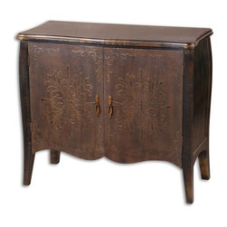 Uttermost - Uttermost Etoile Console Cabinet - Uttermost Etoile Console Cabinet is a part of Cabinets Collection by Uttermost Painted black finish with rub through distressing. Curved doors are rust brown with cloth texture and raised relief. One fixed shelf. Cabinet (1)