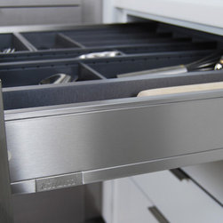 Stainless Steel Drawers from Dura Supreme - Dura Supreme Cabinetry is excited to introduce NEW Stainless Steel Drawers and Roll-Out Shelves for their Alectra Cabinetry (Frameless/Full-Access product line). For a limited time, this new metal drawer system is available exclusively from Dura Supreme as they partnered with Blum to be the first American manufacturer to bring it to market.