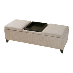 Great Deal Furniture - Fullerton Chamois Fabric Storage Ottoman - The Fullerton Chamois Fabric Storage Ottoman provides extra storage and a well padded top to rest feet after a long day. Easy to access storage areas for pillows, blankets or other household items..