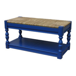 Tradewinds - Cottage Newport Bench, Blue - Artistically carved, this Newport bench is versatile enough to be used in the interiors as well as exteriors of your house. This wonderful furnishing piece precisely depicts the cottage style furniture look. Besides, it accommodates B-100 baskets to provide ample storage space.