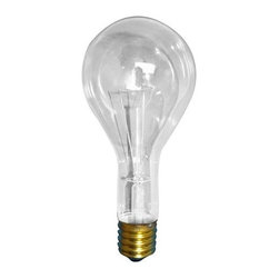 Bulbrite - Long Life General Service Clear Light Bulbs - One pack of 12 Bulbs. 130 V incandescent E26 brass base PS25 type bulb. 360 degree beam spread. Dimmable. Perfect for ceiling fixtures, commercial, outdoor, security, portable, vanity and wall mounted fixtures. Lumens: 2720. Wattage: 300 W. Color temperature: 2700 K. Color rendering index: 100. Average hours: 6000. Maximum overall length: 6.94 in.