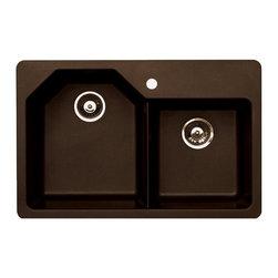 "Pegasus - Pegasus Arion Dual Mount 33 x 22 Offset Double Bowl Kitchen Sink (PEAR20MC) - Pegasus PEAR20MC Arion Dual Mount 33"" x 22"" Offset Double Bowl Kitchen Sink, Metallic Chocolate"