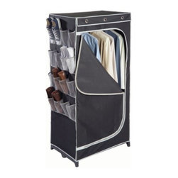 "Richards Homewares - Storage Wardrobe with Mesh Shoe Pockets, Black/Silver - Comes with 16 mesh pockets. Sized for shoes and 18 mesh for accessories. Zippered closure front. 30"" of hanging space."