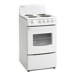 "Danby - 20"" Electric Range, White - 20"" Freestanding Electric Range with 4 Coil Burners, 2.4 cu. ft. Oven Capacity, Large Oven Window, Hot Surface Indicator Lights, 2,400 Watt Broiler and Easy-Clean Porcelain Cooktop"