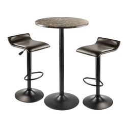 Winsome Wood - 3-Pc Metal Pub Set - Includes round table and two adjustable swivel stools in PU leather. Table with stylish faux marble top in brown tones. Chic and durable table. Black metal accent based gives a sophisticated look. Black finish metal leg and base. Air lift adjustable, swivel, PU leather upholstered stool with espresso finish. Adjustable seat height between 26 in. - 33 in.. Black finish. Assembly required. Stool size at tallest position: 15.16 in. W x 15.16 in. D x 33.84 in. H. Overall: 23.62 in. Dia. x 40.04 in. H