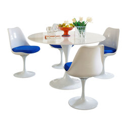 "LexMod - Lippa 5 Piece Dining Set in Blue - Lippa 5 Piece Dining Set in Blue - This Lippa Dining table and chair set is the perfect solution to your dining seating needs! Perfect when entertaining or for everyday relaxation. Table has a lacquered cast aluminum base. Chair has a swivel seat with a padded cushion upholstered in several fabric colors. Whites are reinforced bonded finishes that maintain their gloss through years of use. Both the base and top are treated with a clear protective finish to resist scratches, stains and scuffs. Set Includes: Four - Lippa Side Chairs One - 48"" Lippa Dining Table Scratch and Chip Resistant Finish, Fiberglass Top, Chairs: ABS Plastic Seat, Fiberglass Base, Cloth Cushions Overall Product Dimensions: 58""L x 58""W x 32""H Overall Table Dimensions: 48""L x 48""W x 29""H Overall Chair Dimensions: 21""L x 20""W x 32""H Seat Dimensions: 19""L x 19""H - Mid Century Modern Furniture."